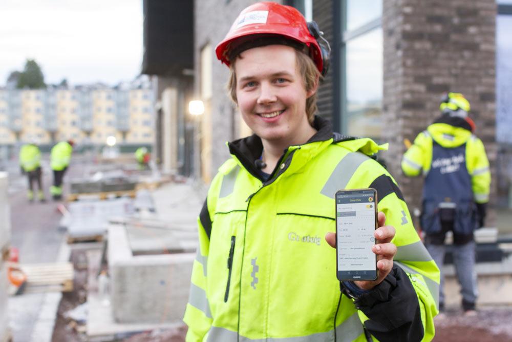SmartDok app Grøteig AS Anleggsgartner registrerer timer