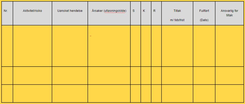 Risikoanalyse tabell