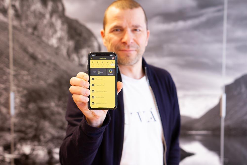 Bjørn Tore Hagberg med appen som nå sysselsetter over 50 mennesker og har over 70.000 brukere.