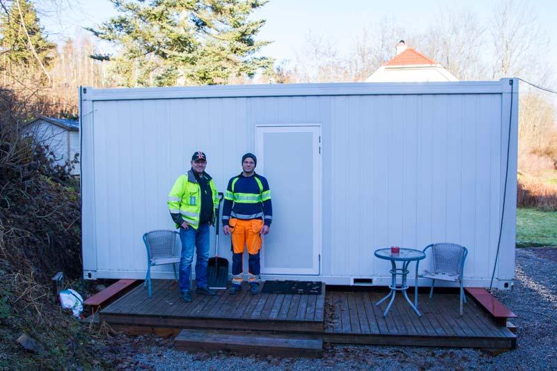 Skoppum Grunnarbeid sitt provisoriske kontor i Skoppum er en funksjonell nusselig sak. Foto: Lasse Sørnes